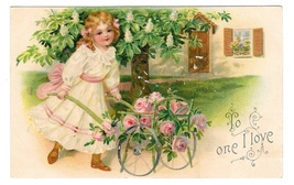 VALENTINE To One I Love Pretty Girl Rose Cart Vintage Embossed Postcard ... - $6.69