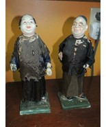 """Chinese Paper Mache Figures 12"""" man woman silk clothes oil can snuffer 19th/20th - $53.99"""