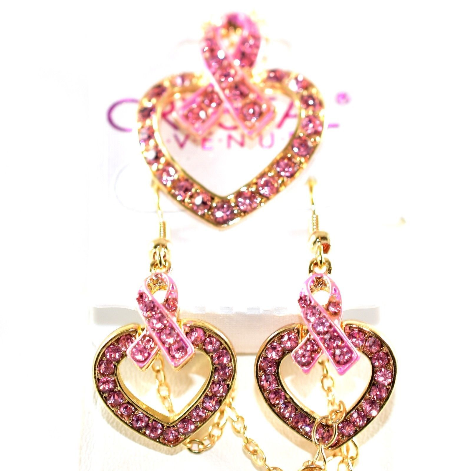Crystal Avenue Breast Cancer Awareness Heart in Ribbon Necklace & Earring Set
