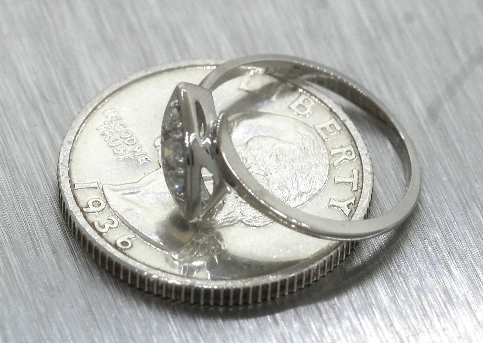 Ladies 14k 585 White Gold Diamond Oval Cocktail Ring