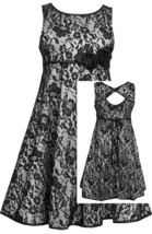 Little Girls 2T-6X Black White Bonded Lace Fit and Flare Social Dress
