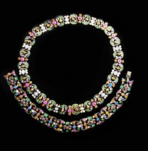 Sterling Antique Necklace Bracelet Hand set paste rhinestones Austro Hungarian  - $1,950.00