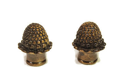 Pair of Unique Brass Acorn Lamp Finial
