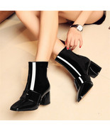 91B012 Lady's thick heeled booties,candy color, size 4-8.5, black - $98.80