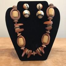 Wooden Beaded Necklace & Pierced Earring Set Tribal Chunky 29 Inch Long ... - $12.86