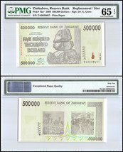 Zimbabwe 500,000 (500000) Dollars, 2008, P-76a,UNC,REPLACEMENT / STAR,PM... - $29.99