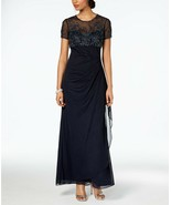 XSCAPE Embellished Empire-Waist Gown Navy Plus Size 14W $259 - $132.99