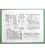 STEAMSHIPS Construction Steam Cylinders Paddle Wheels  - SUPERB 1844 Print - $22.91