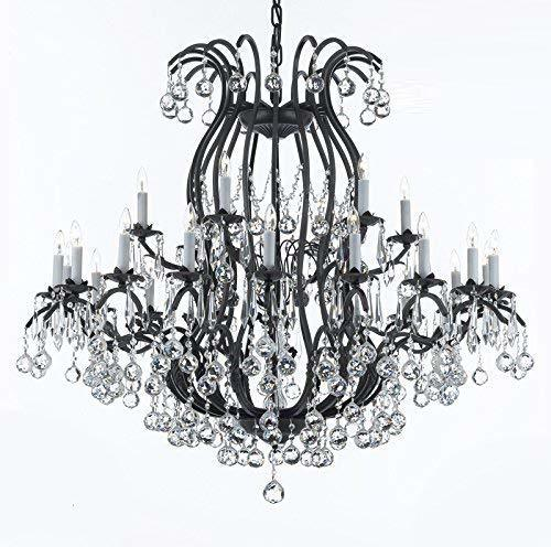 Wrought Iron Chandelier Crystal Lighting Empress Crystal (TM) Dressed with Facet