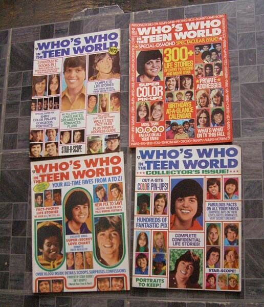 Who's Who In The Teen World Osmonds Partridge Family Bardy Bunch Bobby Sherman +
