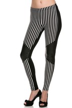 Cali Chic Juniors' Leggings Celebrity  Pieced Pin Striped PU Ankle Leggi... - $16.99