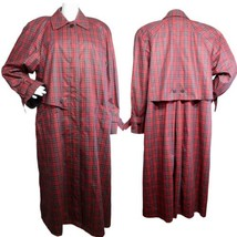 London Fog women's vintage trench long trenchcoat plaid buttons  front s... - $69.19