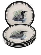 5 Loon Lake By Scotty Z Folkcraft Stoneware Salad Dessert Plates Discont... - $53.34