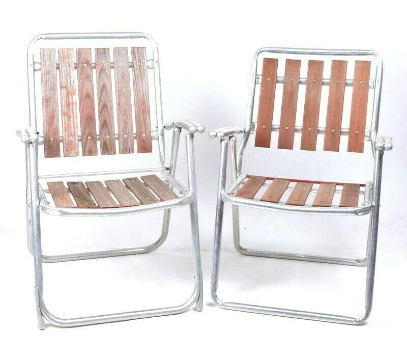 Vintage Set of 2 Aluminum Wood Folding Lawn and 50 similar items
