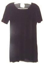 Sz S - Dressing Clio Black Velvet Short Sleeve Tunic Top  - $28.49