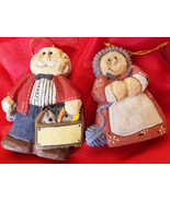 mr mrs claus Santa christmas ornaments decoration clay ceramic  - $12.99