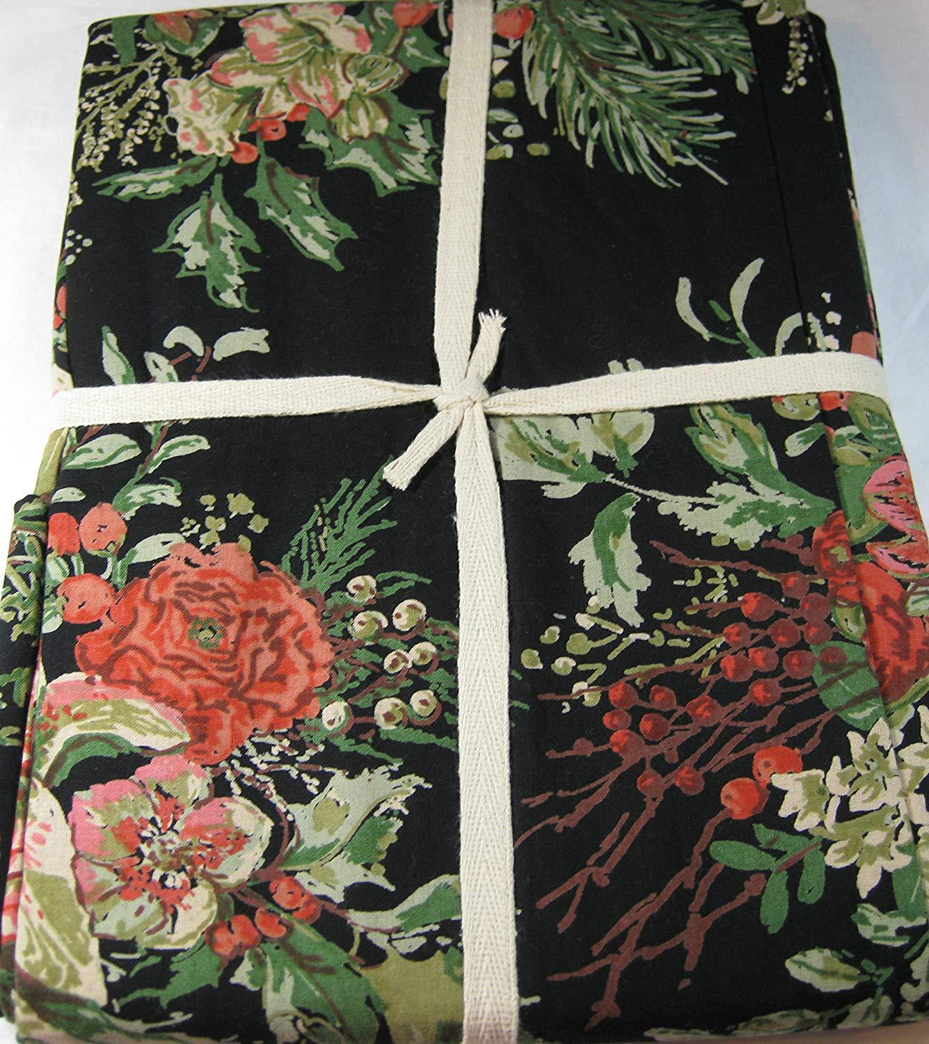 "April Cornell Vibrant Floral on Black Cotton Tablecloth 70"" Round"