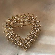 Estate Clear Rhinestone Encrusted Open Center Valentine's Day Heart Pin ... - $10.39