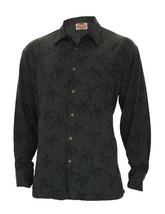 Men's Black Rayon Poplin Hawaiian Shirt Long Sleeve Tropical Palms Print - $74.76+