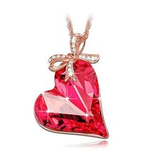 Women Necklace Valentines Day Gift For Her Swar Red Crystal Pendant Girl... - $54.74
