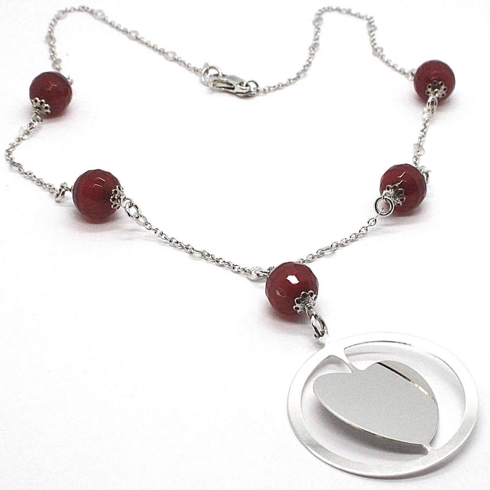 Necklace Silver 925, Carnelian Faceted, Heart Sloped Pendant