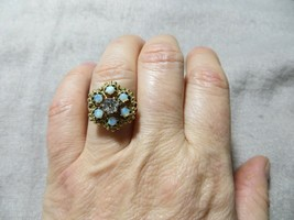 Antique Victorian Real Diamond Opal Stones solid 14k Yellow Gold Ring s.6.75 - $394.99