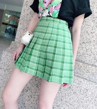Women Girls Green Plaid Skirt Plus Size Pleated Plaid Skirt Pleated Tennis Skirt image 1