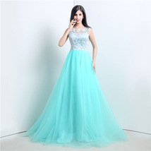 A-line Sleeveless Lace Bodice Prom Dress Long Tulle Formal Gowns Evening... - $98.68