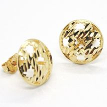 Yellow Gold Earrings 750 18K, Button, Disc, Finely Machined, Hammered image 4