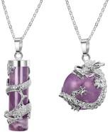 Finrezio Dragon Necklace For Men Women Amethyst Quartz Pendant Necklaces... - $21.88