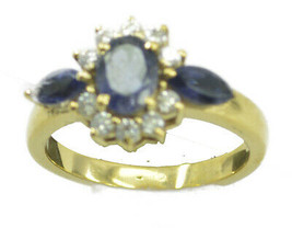 charming Iolite Gold Plated Blue Ring Natural supplies US gift - $14.99