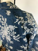 DENIM & CO Women's Jacket Blue Jean Floral Rose Flower Graphics Size Small $75 image 7
