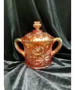 Vintage Imperial Glass Marigold Cardinal Rose Double Handled Sugar Bowl - $35.00