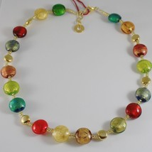 ANTICA MURRINA VENEZIA DISC 15 MM NECKLACE MULTICOLOR, PLATED YELLOW GOLD