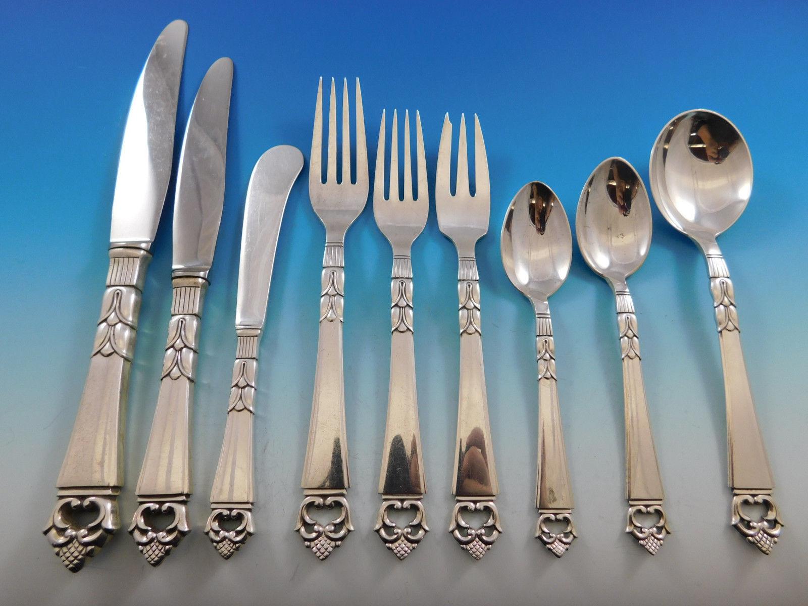 Danish Crown by Frigast Sterling Silver Flatware Service for 8 Set 79 pcs Dinner