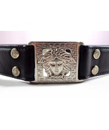 Womens Vintage Gianni Versace Medusa Black Leather Belt Size 75 / 30 Italy - $499.95
