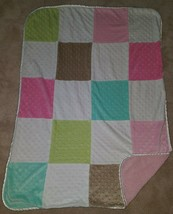 Just Born Patchwork Fleece Blanket Lovey Pink Brown Blue Green White SOFT Minky - $24.70