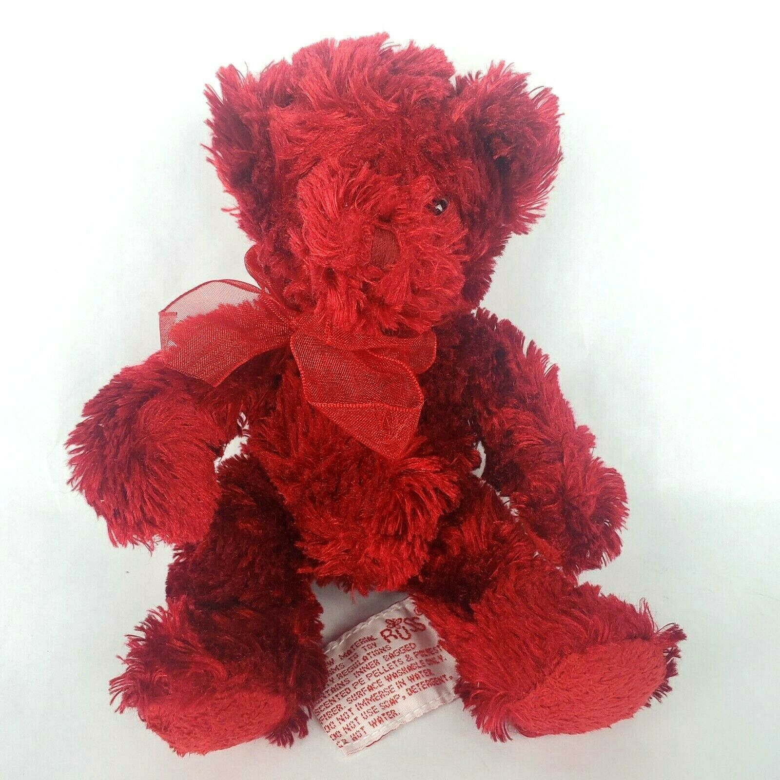"Vintage Russ Berrie Sherry 7"" Plush Teddy Bear Red Bow Stuffed Animal Toy - $20.55"