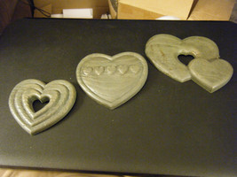 Vintage Set of 3 Home Interiors Burwood Country Blue Hearts Hanging Wall... - $12.86