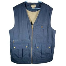Duluth Trading Co. Men's Sz XL Tall Navy Blue Canvas Vest Sherpa Fleece ... - $39.85