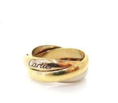 Authentic Cartier Trinity ring K18YG(750) x K18WG x K18PG Three Gold Use... - $453.42