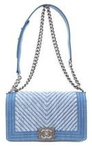 Auth CHANEL Shoulder Bag Blue Matelasse Boy Denim Flap Logo Medium Pouch... - $4,464.90