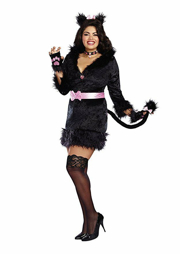Dreamgirl Cattitude Cat Kitten Pink Bow Women Sexy Halloween Costume 10718
