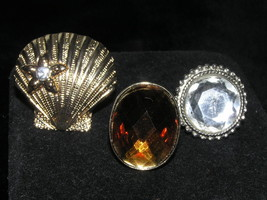 Estate Lot of 3 HUGE Goldtone Shell & Oval Brown & Round Clear Faceted M... - $11.02