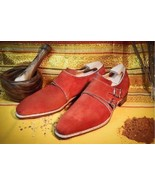 Handmade Red color Double monk Party Shoes, Men designer red suede monk ... - $169.99