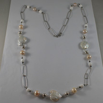 .925 SILVER RHODIUM NECKLACE WITH PINK PEARLS, WHITE AGATE, BAROQUE WHITE PEARLS image 2