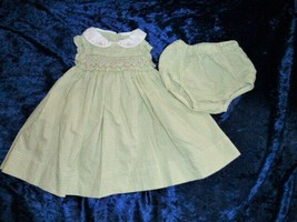 Carters Baby Girl White Green Plaid Gingham Smocked Easter Party Dress 0-3 - $12.86