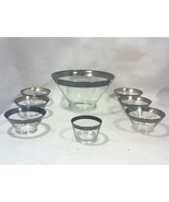 Mid-Century Dorothy Thorpe Silver Rim Salad Bowl Serving Set-Eight Pieces - $225.00