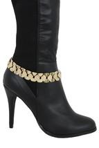 Nuovo Donna Rete Oro Metallo Stivali Bracciale Catena Moda Occidentale - $27.39