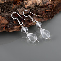 Smooth Round & Pear Clear Quartz 925 Sterling Silver Drop Dangle Earring... - $17.99